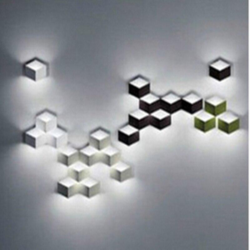 Flod magique led Applique Murale en aluminium Stéréo Losange Glace Cube 3D Mur Lampe Géométrie Grille Carrée Boîte éclairage intérieur 1823