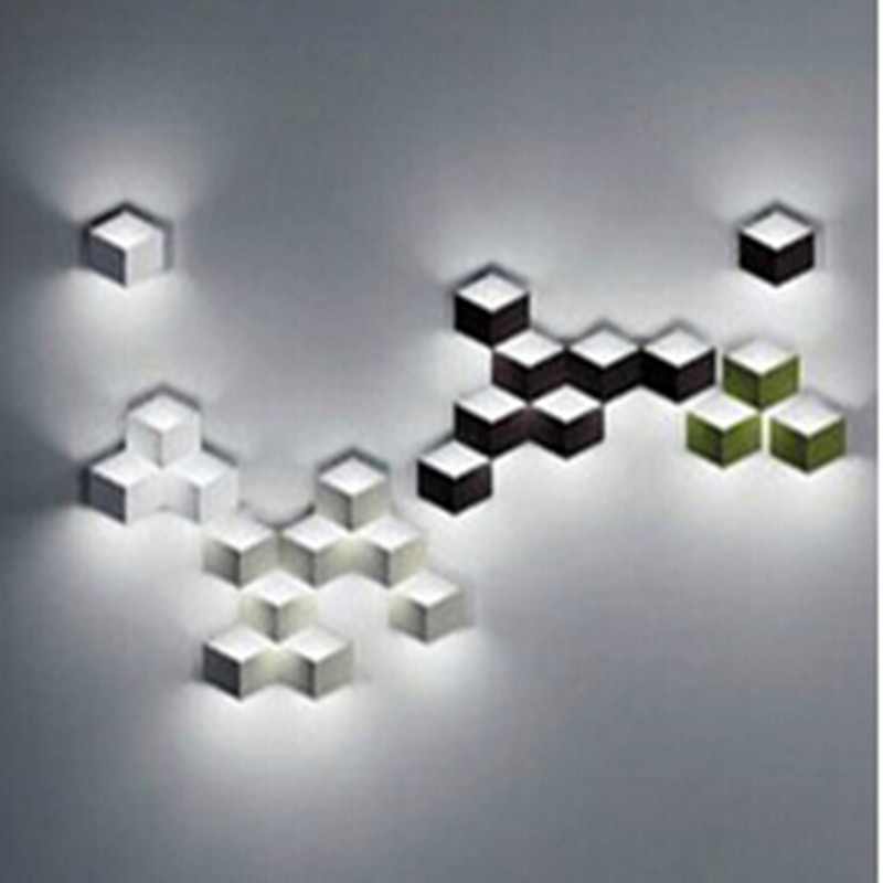 flod magic led Wall Light aluminum Stereo Rhombus Ice Cube 3D Wall Lamp Geometry Square Grid Box indoor lighting 1823