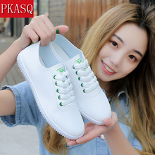 PKSAQ Female Spring Summer Women Casual Shoes Woman Flats Fashion Lace-Up Sweet Breathable White Sneakers Tenis Feminino
