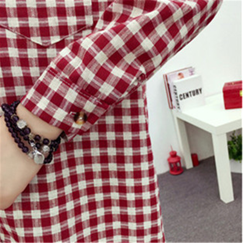 Brand Yan Qing Huan 2018 Spring Long Paragraph Large Size Plaid Shirt Fashion New Women's Casual Loose Long-sleeved Blouse Shirt 6