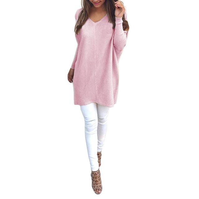 2019 New Yfashion Women Fashion V Neck Long Sleeve Thin Sweater Top Selling