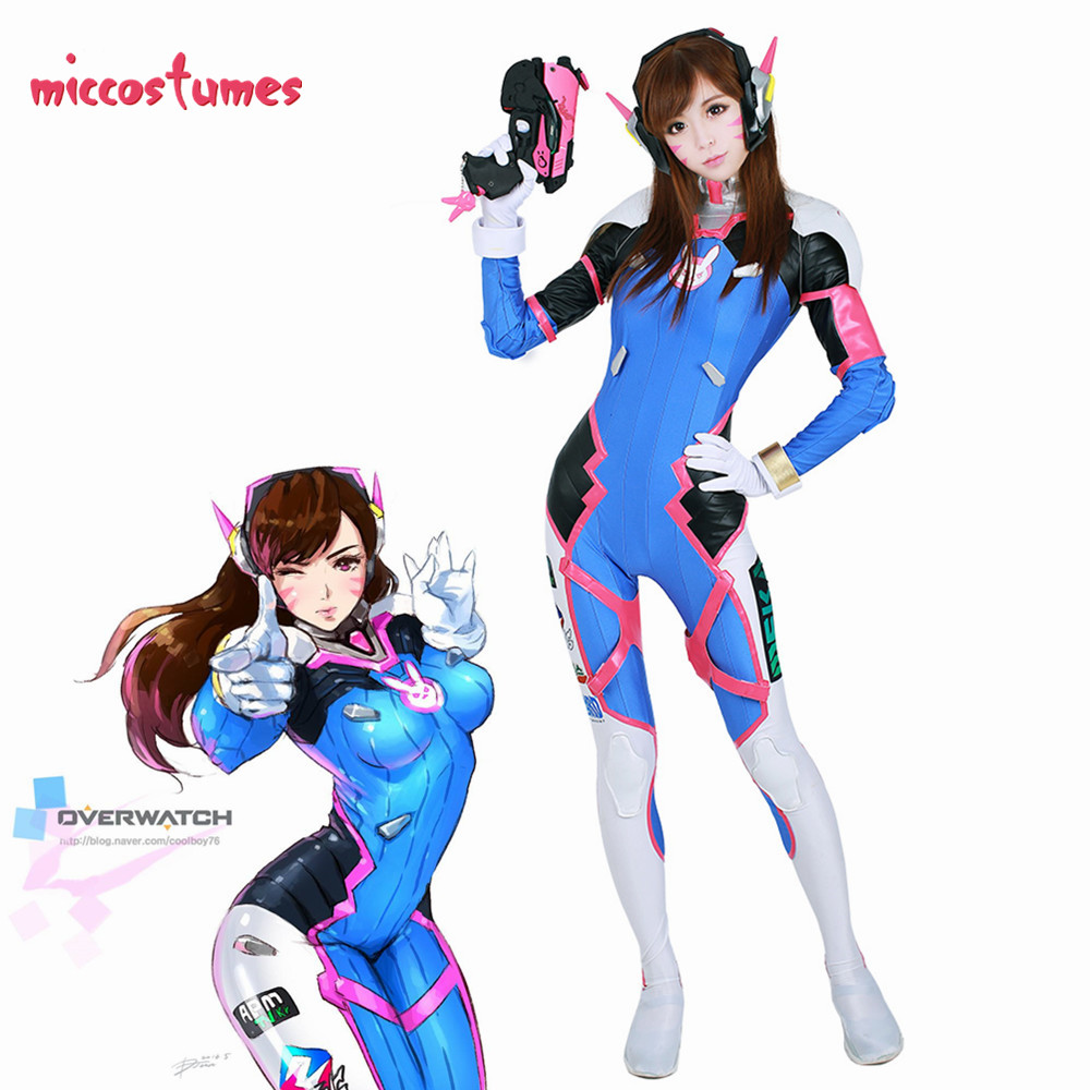 D.Va Hana Song Cosplay Costume Women Halloween Outfit Zentai Bodysuit Jumpsuit