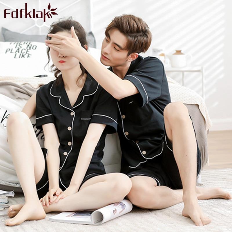 Fdfklak M-3XL Summer Cotton Pajamas For Men Short Sleeve Pyjamas Men New Lounge Pajama Set Couple's Sleepwear Set Pijama Hombre