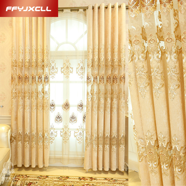 New Luxury Europe Embroidered Tulle Window Curtains For Living Room Bedroom  Golden Yellow Curtains Window Treatment