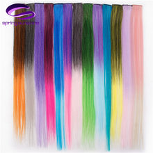Spring sunshine Single Clip In One Piece Hair Extensions Long Straight Heat Resistant Synthetic Pink Green Hair Pieces(China)