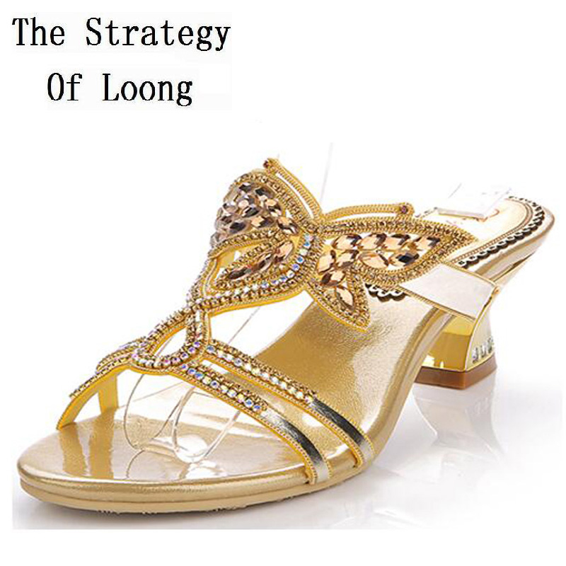Women 2016 Summer New Rhinestone kitten Heel Butterfly Rome Style Fashion Sandals  Sumptuous Big Small Size 33 43 Sexy Sandals