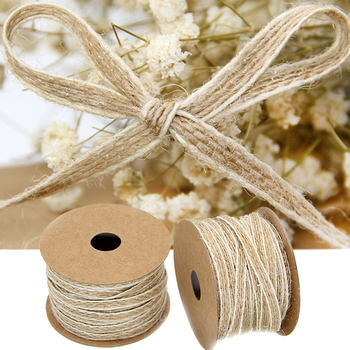 10M/Roll Vintage Jute Burlap Hessian Ribbon With Lace Rustic Wedding Party Decoration Christmas DIY Craft Gift Packing Webbing 10m lot 15mm 38mm jute burlap ribbons diy handmade crafts hessian twine rope cords rustic wedding birthday party decoration