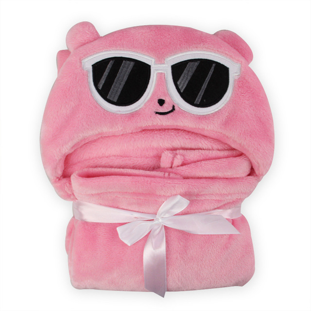 The new cloak with a soft fly hat glasses bear soft cute baby animal towel blanket Cloak