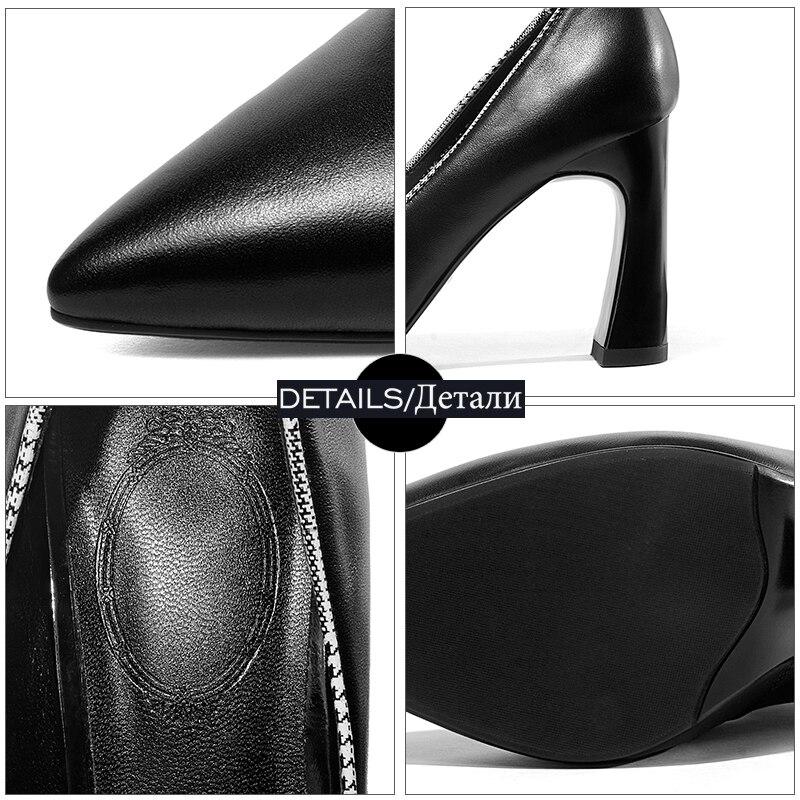 2018 Automne Bout Nouveau De Noir Bureau Pointu Véritable Isnom Pompes Femmes Peu Profonde Cuir Mode Dames Haute blanc Chaussures Talons En 65aFzw