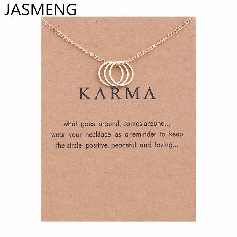 Fashion Jewelry Karma Gold-color Three Circle Pendant Necklace For Women Girl Gift