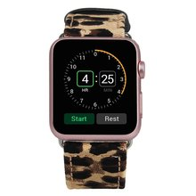 New leopard print Canvas Fabric Genuine Leather Smart Watch band Replacement With Adapter Metal Clasp for Apple Watch All Models