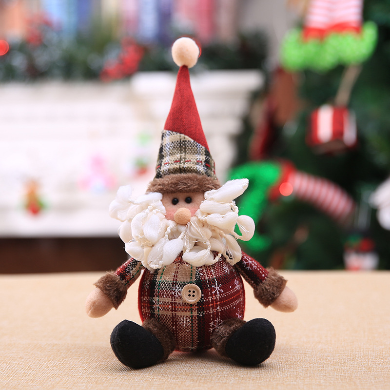 2019 Merry Christmas Tree Ornaments Christmas Decorations for Home New Year gift Children Snowflake Elk Plaid Doll Hanging Natal (2)