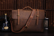 Famous Brand Rare Genuine Cow Leather Handbag New Office Briefcase Shoulder Bag For Men 7082R