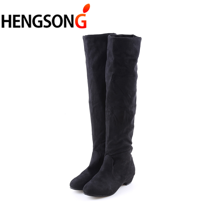 Women's High Boots Shoes Fashion Women Over The Knee Boots 2017 New Autumn Winter Flock Botas Feminina Thigh High Boots Ladies yougolun women nubuck thigh high boots ladies autumn winter boots woman over the knee boots women 2017 square high heels shoes