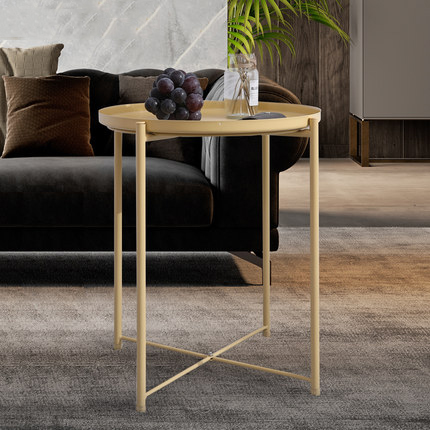 Mobile Coffee Table.Nordic Small Coffee Table Creative Mobile Bedside Table Tray Round Table Wrought Iron Living Room Small Apartment Sofa Side A Fe