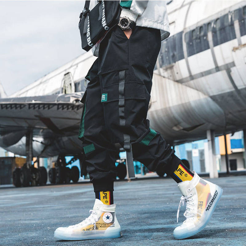 Cargo Pants Streetwear Hip Hop Men Loose Joggers Sweatpants Plus Size Track Pants Pocket Elastic Waist Ankle Length Trousers
