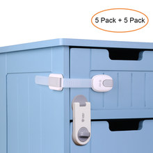 10pcs/Lot Children Safety Lock Baby Security Cabinet Drawer Door Lock Kids Wardrobe Locks No Drilling Dual Action Multi Use(China)
