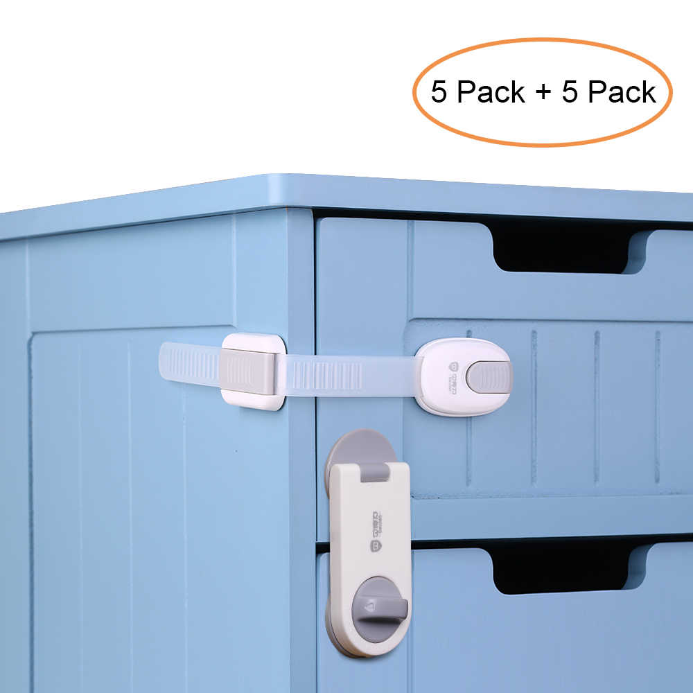 10pcs/Lot Children Safety Lock Baby Security Cabinet Drawer Door Lock Kids Wardrobe Locks No Drilling Dual Action Multi Use