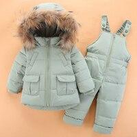 Thick Warm Kids Outwear Clothes Snow Wear Winter Infant Snowsuit Down Baby Boys Clothing Sets 2Pcs Children Girls Ski Suits Z304
