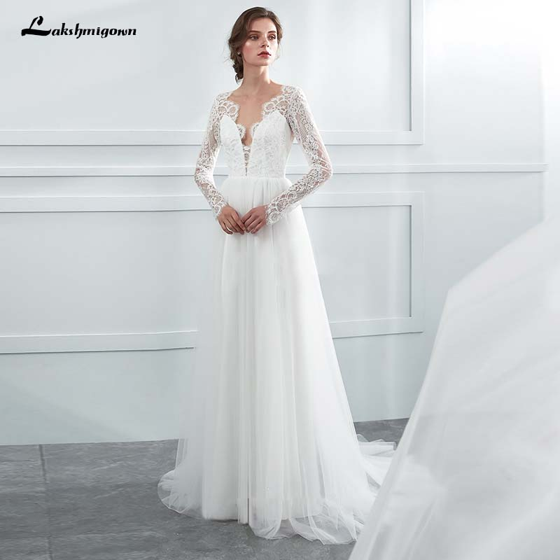 95ee14d9deaf0 US $129.0 25% OFF|Simple Long sleeves Beach Bridal Dress V neck A Line  Wedding Dresses Vestido De Noiva lakshmigown-in Wedding Dresses from  Weddings & ...