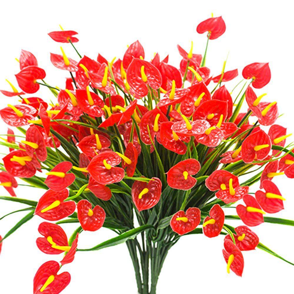 Anthurium Cura Della Pianta 4 mazzi artificiali fiori finti faux anthurium piante piante