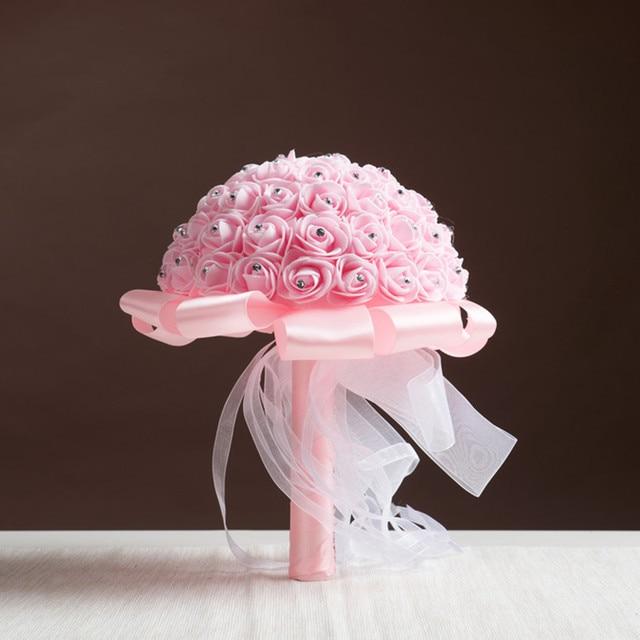 12 colors Bridesmaid Wedding Decoration foamflower Rose Bridal bouquet White Satin Romantic Wedding bouquet Flowers Bride