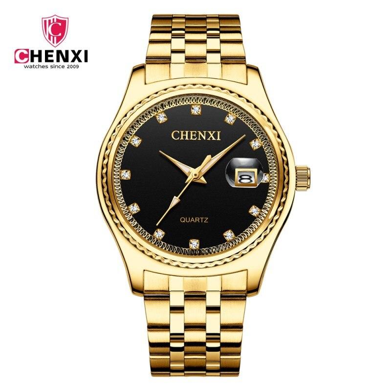 CHENXI Orologio D'oro Degli Uomini di Modo di Strass Orologio Da Polso di Lusso Oro Cinturino In Acciaio Retro Uomo Vestito di Affari Orologio del Regalo heren horloge