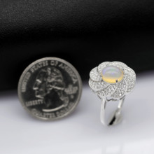 925 Sterling Silver Natural Fire Opal Ring Women with Gemstone Certificate