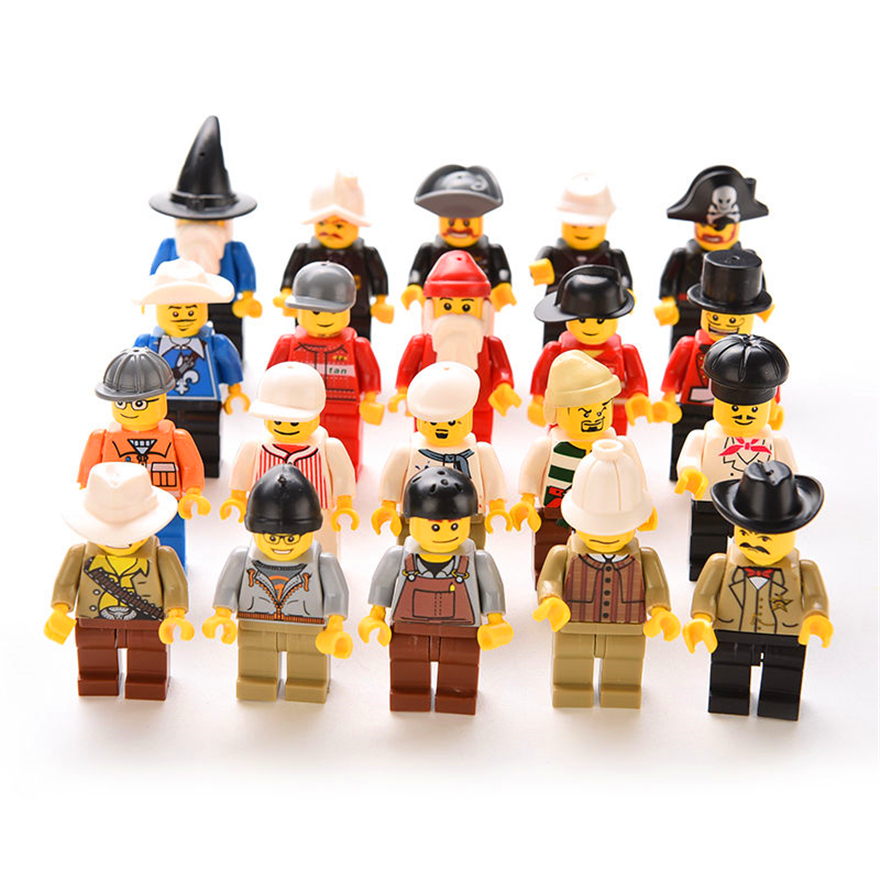 20Pcs/Set Human Model Santa Pirate Chef City Citizens Action Figure Model Building Block Toys Gift For Children Compatible Legoe
