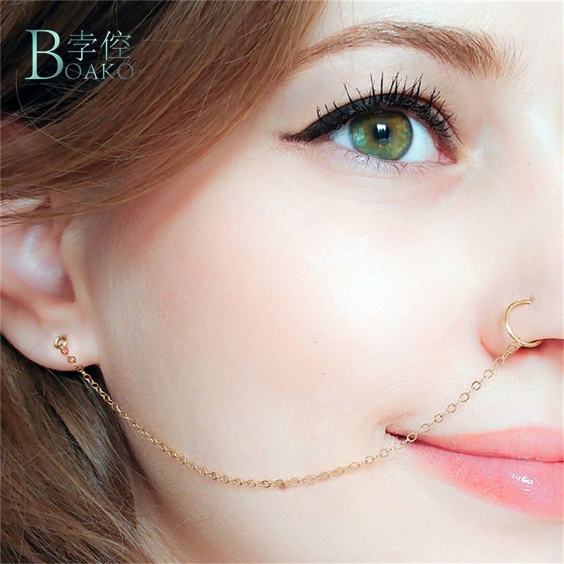 Boako Nose Piercing Jewelry Nose Rings Zinc Alloy Nose Lip Ear Chain For Women Girl Nose Ring Stud Body Piercing Indian Jewelry Body Jewelry Aliexpress