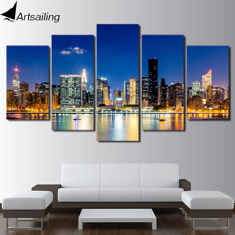 ⑤HD Printed new york city Painting on canvas room decoration print ...