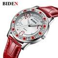 Reloj de Las Mujeres BIDEN marca cuarzo relojes deportivos de cuero de la Señora de Moda de lujo Casual relojes mujer relojes de las mujeres Vestido de La Muchacha