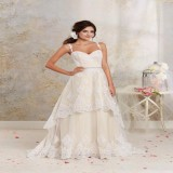 conew_2015 short high low wedding dresses with detachable skirt a line vintage bridal gowns spaghetti straps champagne ivory white crystals sash_conew3