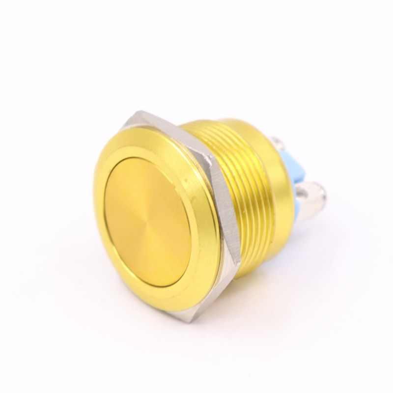 מתכת לדחוף כפתור מתג עמיד למים IP65 חמצון עצמי איפוס רגעי 22mm אדום כחול שחור ירוק צהוב צבע 1NO שטוח עגול