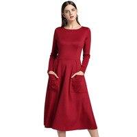Autumn 2018 Elegant Women Sexy Dress O neck Long Sleeve Slim Maxi Dress Thin Zip pocket Long Dress