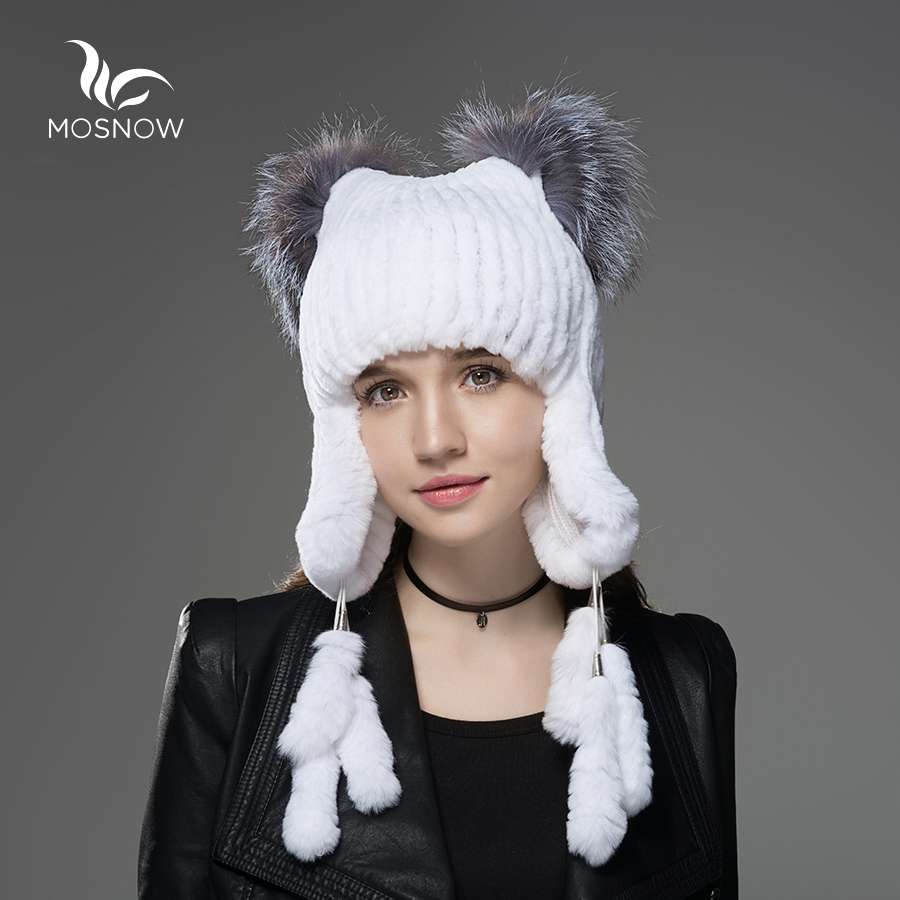 Mosnow New Rex Rabbit Fur Hat Female With Fox Fur Cat Ear And 6 Cute Tails Women Warm Knitted Winter Hats Skullies Beanies autumn winter beanie fur hat knitted wool cap with silver fox fur pompom skullies caps ladies knit winter hats for women beanies