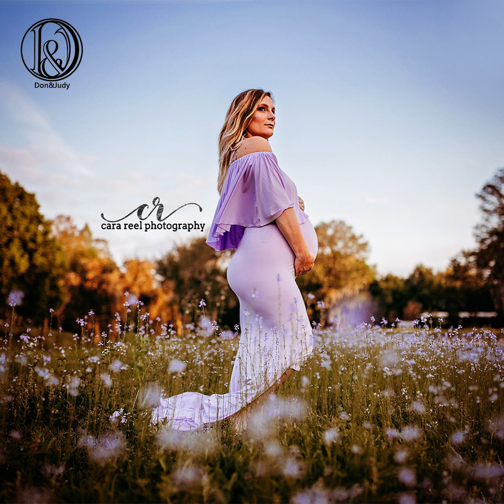 D J Ruffle Collar off shoulder Maternity Dress Photography Props Pregnancy Dress Photography For Photo Shoot