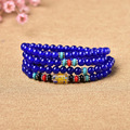 supply of male and female counter multi ring bracelet with six Blue Chalcedony mantra 108 Pearl crystal jewelry sales