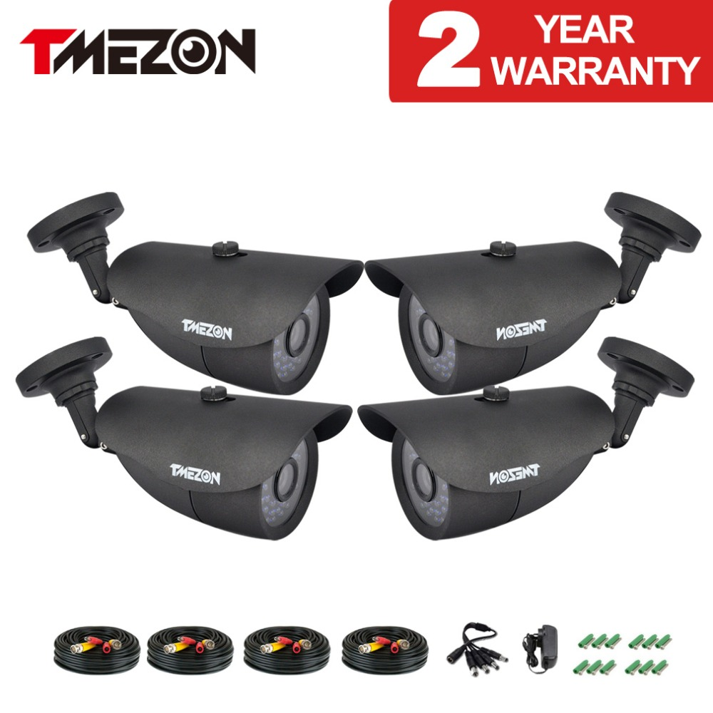 Tmezon HD 800TVL 1200TVL Camera Bullet CCTV Security Surveillance Camera Outdoor Auto IR-Cut Night Vision 4pcs Set with Cable hd bullet outdoor mini waterproof cctv camera 1200tvl ir cut night vision camara video surveillance security camera