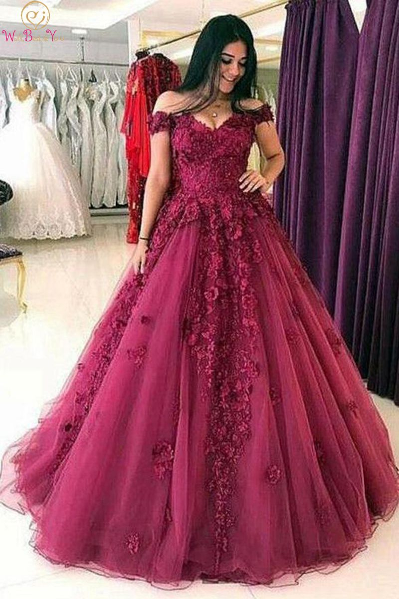 Elegant Sweethreart Neck Evening Dresses 2019 Wine Red Off Shoulder Appliques Formal Long Quinceanera Ball Gown robe de soiree