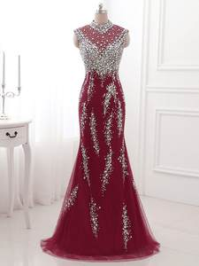 Evening-Dress Beading Crystal Lace Mermaid-Long Burgundy Formal Wear Illusion Back Best-Selling