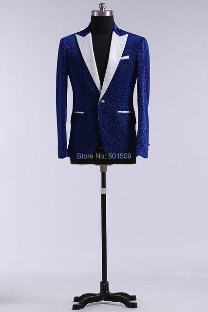 Вмс блеск синий мужские смокинг куртка / сцена, Только куртка