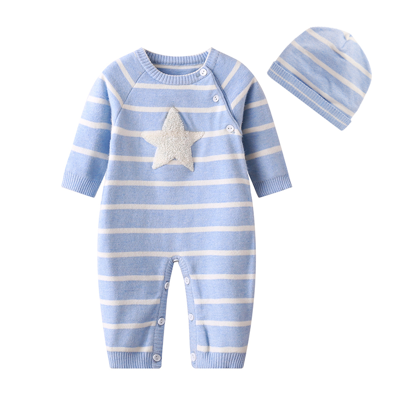 New 2017 Baby Winter Romper with Hat Newborn Infant Baby Knit Romper Striped Baby Winter Clothes Baby Products Costumes puseky 2017 infant romper baby boys girls jumpsuit newborn bebe clothing hooded toddler baby clothes cute panda romper costumes