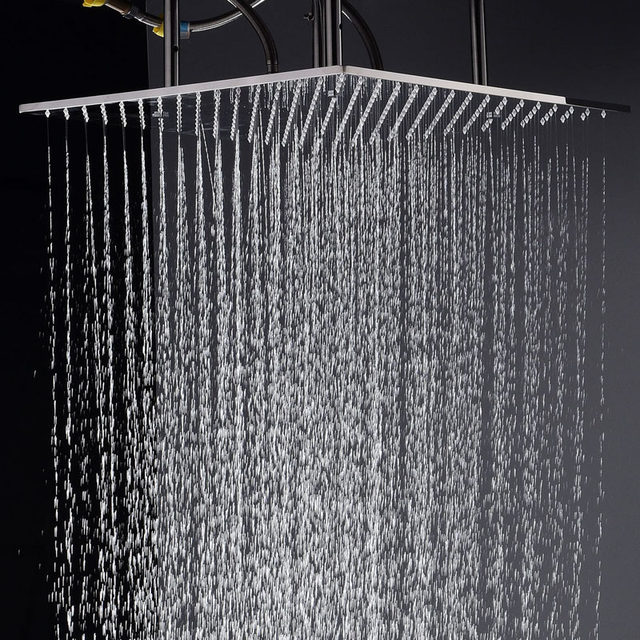 Ceiling Mounted Big Rainfall Shower Head System Bath Rain Mixer Shower  Combo Set Thermostat Valve With Concealed Box