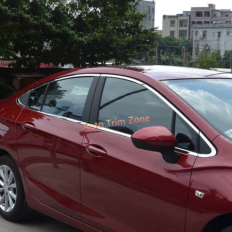 Stainless Steel Chromed Upper&Lower Window Mouldings 12PCS For Chevrolet Cruze 2017 Sedan abs chromed door lower window mouldings