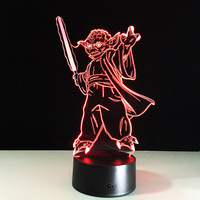 Acrylic Cartoon Star Wars Yoda Master 3D LED Night Light Touch Switch Colorful Gradient Novelty Lighting