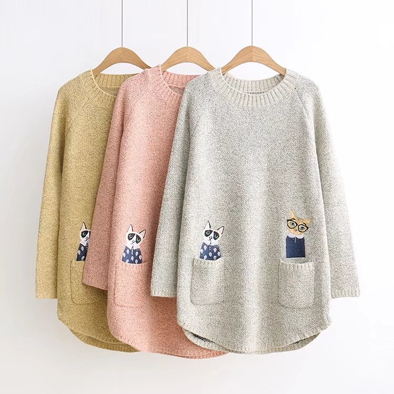 Cat Pattern Embroidery Sweater Women Winter 2019 Long Sleeve Sweater And Pullovers Women Casual Knitted Sweaters Female Top