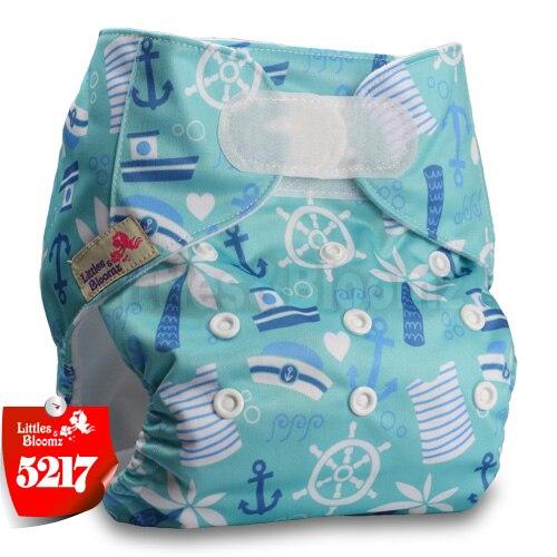 [Littles&Bloomz] Детские Моющиеся Многоразовые, настоящая стандартная ткань, застежка-липучка, карман для подгузников, пеленки, обертывание, подходит для рождения в горшке - Цвет: 5217