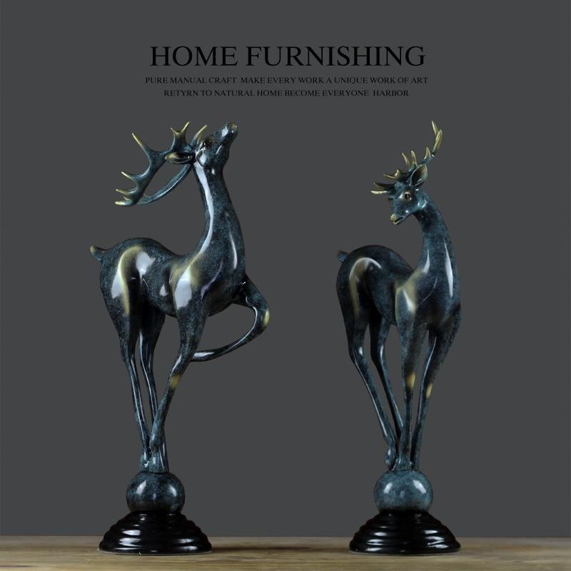 Resin Craft Deer Ornaments Creative Living Room Home Decoration