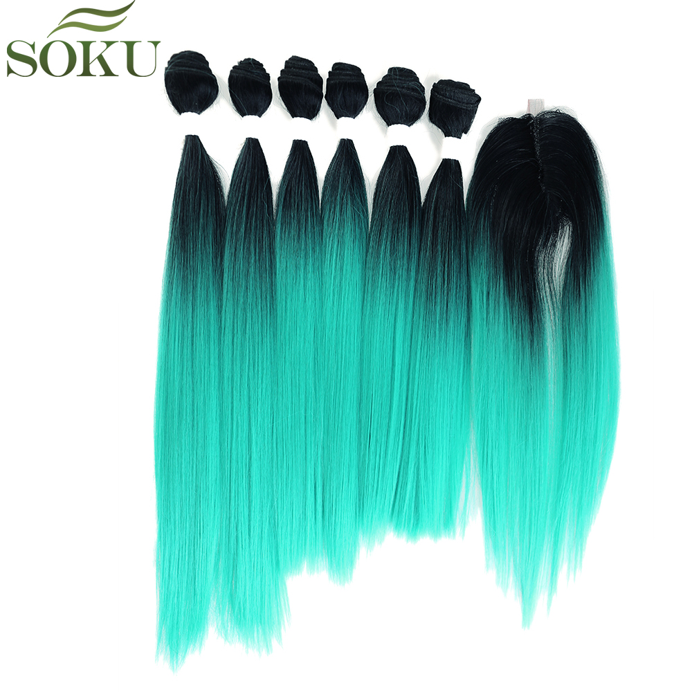 SOKU Straight Synthetic Hair Bundles With Closure 7pieces/pack 14-18 Inch Yaki Hair Weave Bundles Free Shipping